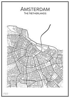 Amsterdam. Map. City print. Print. Stadskarta.