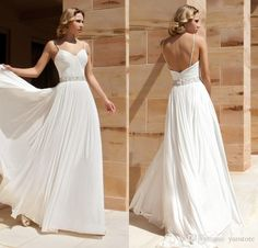 Vintage Spaghetti Strap Wedding Dresses Simple Sweep Train Spag Beach Bridal Gowns Chiffon Designer A Line Wedding Dresse Online with $141.37/Piece on Yaostore's Store | DHgate.com