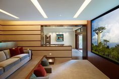 NOTE: floor pillows and arm rests.   Modern Media Room by El Segundo Architects & Designers Rockefeller Partners Architects