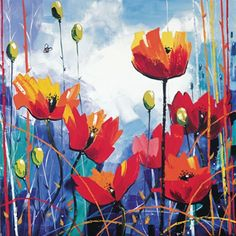 Contemporary Fine Art Print Machair Wild Cotton and Wild Flowers, South Uist by the artist John Lowrie Morrison Spring Color Palette, Spring Colors, Framed Art Prints, Fine Art Prints, Orange Flowers, Limited Edition Prints, Flower Art, Poppies, Giclee Print