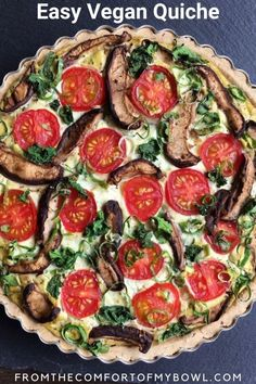 This simple vegan quiche Lorraine has a savory tofu filling with tomatoes, kale and mushrooms, in a homemade gluten-free crust. A perfect tart for breakfast or… High Protein Vegan Recipes, Vegan Breakfast Recipes, Delicious Vegan Recipes, Vegetarian Recipes, Tasty, Quiche Lorraine, Gluten Free Crust, Vegan Gluten Free, Dairy Free