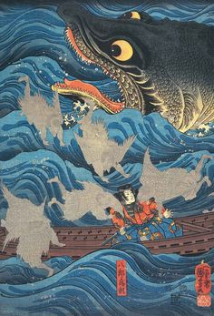 Woodblock print. About 1840's, Japan, by artist Utagawa Kuniyoshi (1797-1861)                                                                                                                                                     More