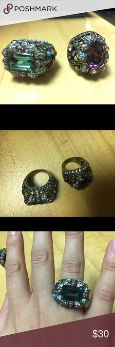 Set of two Heidi Daus statement rings Heidi Daus statement rings. Approx size 7. Retail for $55 each. Included product description is for rectangular stone. Heidi Daus Jewelry Rings