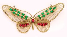Estate and Retro Jewelry, emerald, ruby, diamond, gold butterfly brooch ~ Cartier Paris