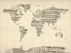 piano sheet music map.  Great idea for music room art work.
