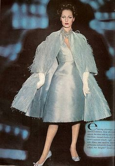 Ensemble of blue silk and ostrich feathers by Lanvin-Castillo, photo by William Klein for Vogue March 1962