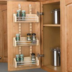"Adjustableoor Mount Spice Rack w/3 Bins for 15"" Wall Cabinet Natural Wood Maple. http://www.cshardware.com/r-4asr-15.html"