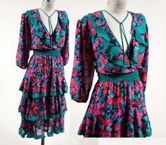0ee1327036cc8 1980s Vintage Dress    Plunging V    Vintage Susan Freis    Floral Tiered  Deep V Neckline    XS - Small - Medium    Diane Freis