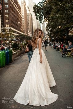 berta fall 2017 bridal sleeveless illusion bateau neckline deep plunging v neckline heavily embellished bodice romantic sexy a  line wedding dress low back chapel train (011) bv