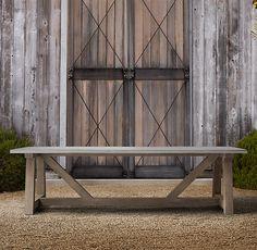 French Beam Weathered Concrete & Teak Rectangular Dining Table