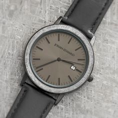 Shop Now: Meteorite Matte Black Watch With Leather Strap