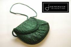Minibag tracolla verde ricamo perline