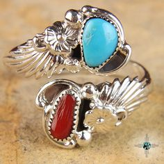 Adjustable Turquoise Coral Helix Navajo Sterling Silver Ring by Etta Bellin