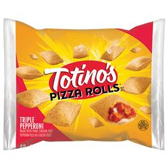 Discover Pepperoni and Bacon Pizza Rolls from Totino's, a delicious snack for those who love pizza. Make them in minutes using the micro, toaster or oven. Pizza Snacks, Hot Snacks, Meat Pizza, Bacon Pizza, Yummy Snacks, Pizza Recipes, Pizza Roll Bites, Bugles Recipe, Totinos Pizza Rolls