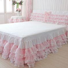 Queen bedskirt tulle bedskirt Princess Lace Ruffle Bedspread,Beautiful pink Bedskirt,Korean Style girls Wedding Bedcloth