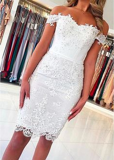 Off Shoulder Short Lace Graduation Formal Homecoming Dresses Sheath, SSM, This dress could be custom made, there are no extra cost to do custom size and color. Mini Prom Dresses, Junior Bridesmaid Dresses, Short Dresses, Girls Dresses, Wedding Dresses, Bride Dresses, Short Evening Dresses, Graduation Dresses, Dresses Dresses
