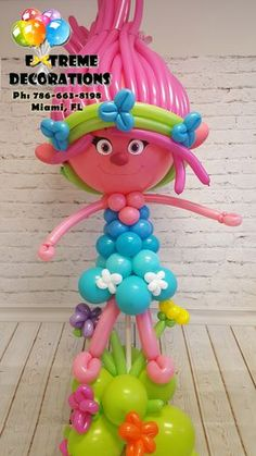 Trolls theme Poppy Balloon Sculpture. Trolls Birthday Party ideas. Party decorations Miami. Balloon arch. www.extremedecora... Extreme Decorations Miami Ph: 786-663-8198