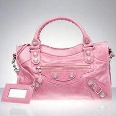 All Things Pink and Girly Stylish Handbags, Fashion Handbags, Purses And Handbags, Versace Handbags, Luxury Handbags, Pink Balenciaga, Balenciaga City Bag, Divas, Green Purse