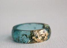 aqua gold round eco resin ring