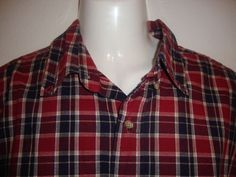Eddie Bauer Red Cotton Plaid Long Sleeve Casual Button Down Shirt Large LG | eBay $11.99