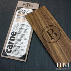Marquee Menus' custom menu holders are available in multiple styles, 6 different real wood finish options, and include your engraved logo. All custom sizes available. Cafe Menu Design, Food Menu Design, Restaurant Menu Design, Outdoor Restaurant, Chorizo, Wood Menu, Menu Holders, Menu Boards, Fine Hotels