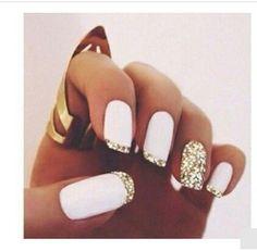 White and glittered gold nail art .. NYE Nails