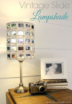 Now this is a one of a kind light!  Lampshade made from vintage slides.  Look how beautiful the light looks shining through each slide!