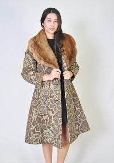 Vintage Tapestry Coat 60s Mink Fur Collar Tapestry Floral Trench Brocade Jacket Coat S M