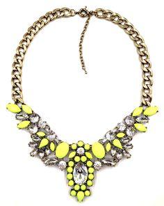 Vivian Statement Necklace - Neon Yellow
