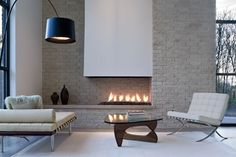 Fireplace - white and stone.