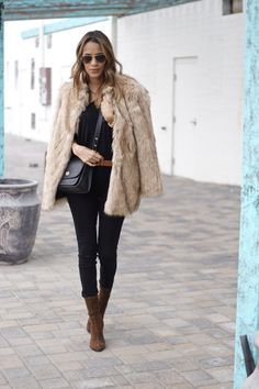 Black high waisted jeans and camel belt found at marshalls Styled with lux faux fur coat and brown ankle boots