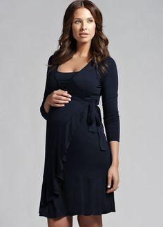 Ripe Maternity - Flounce Long Sleeved Nursing Dress - Breastfeeding Dresses - Queen Bee Maternity Wear Online