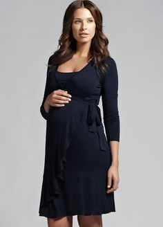 Ripe Maternity - Flounce Long Sleeved Nursing Dress - Breastfeeding Dresses - Queen Bee Maternity Wear Online