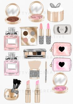 Makeup Clipart Set, Make up clip art collection. Create your own invites, stickers, printables and more with this kit! ♥ ♥ ♥ /////// Match with------------------->>  Paper Set: https://www.etsy.com/listing/498496576/makeup-addict-digital-paper-set-beauty?ref=shop_home_active_1  ---------------------------------------------------------------------------------------------------  ♥ WHAT YOU GET: - PNGs files transparent | all...
