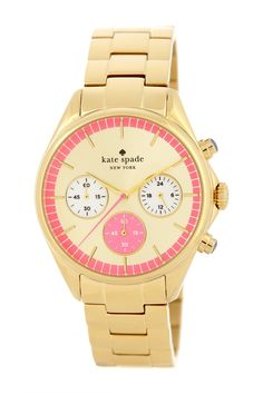 women's seaport grand gold & pink chronograph watch on HauteLook