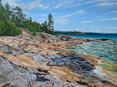 Acrylic on Gallery Canvas Lake Superior Provincial Park Cool Paintings, Landscape Paintings, Landscapes, Lake Superior, Coast, Park, Canvas, Gallery, Drawings