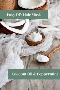 How to make a coconut oil and peppermint oil for hair mask. Use a peppermint and coconut oil hair mask for growth. Leave on for 30 minutes or overnight for deep conditioning. A DIY coconut oil hair mask is great for dandruff or for dry scalp. This peppermint hair mask also has coconut oil and raw honey. Coconut oil hair mask is great for dry hair or for damaged hair. It helps smooth your hair and make it softer and shiny. Diy Hair Oil, Diy Hair Mask, Homemade Beauty Recipes, Natural Beauty Recipes, Diy Beauty, Beauty Tips, Beauty Ideas, Beauty Care, Hair Care Recipes