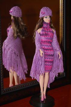 crochet pattern for Barbie...turtleneck dress with matching shawl !