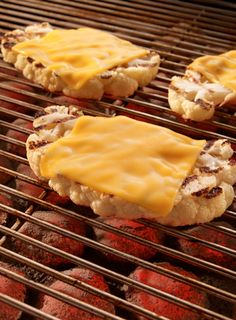 Thick slices of cauliflower topped with melted cheese are tasty and super easy to make.