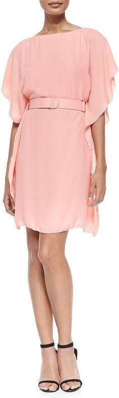Chiffon Belted Flutter Dress