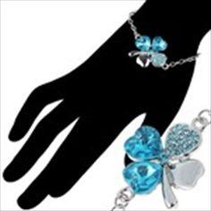 Exquisite Four Leaf Clover Design Bracelet Brace Lace & Artificial Crystal for Women Ladies Girls