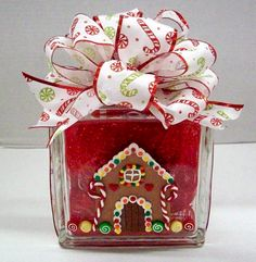 Gingerbread House Block designed by Karen S., A.C. Moore Erie, PA #glassblock #christmas
