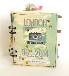 London travel journal - Scrapbook.com - Create your own mini album covers and pages using the We R Memory Keepers Cinch.