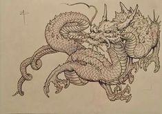 Japanese Drawings, Japanese Tattoo Designs, Japanese Tattoo Art, Japanese Art, Asian Dragon Tattoo, Japanese Dragon Tattoos, Chinese Dragon Art, Dragon Sketch, Fu Dog