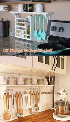 Clear your countertop clutter by building a DIY kitchen backsplash shelf