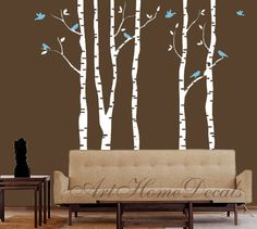 Tree Wall Decal Wall Sticker - Birch Trees Wall Decal  - T1