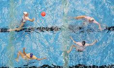 Britain's women's water polo team, shown here practising in Manchester, won the European B Nations Trophy last year. Photograph: Martin Rickett/PA