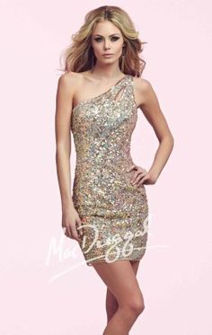 Sequined One Shoulder Dress by Mac Duggal Homecoming 3812N