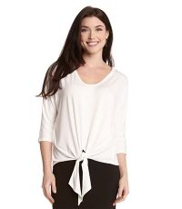 3/4 Sleeve Shirred Tie Top