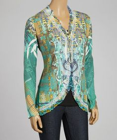 Loving this Green Gaudy Centers Open Cardigan on #zulily! #zulilyfinds